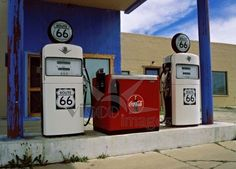 vintage gas stations | Vintage Gas Station at Historic Route 66, Arizona Stock photo by ...