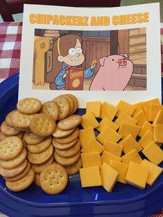 Dondé tiene galletas nuevas de queso. Perfectas!! Gravity Falls birthday party food. Chipackerz