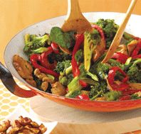 Chicken Stir-Fry with Broccoli, Spinach & Red Peppers                                                 This stir-fry takes 40 minutes if you cook the brown rice and prepare the tamari cashews while the chicken marinates. The vitamin C in broccoli and peppers help your body absorb the energizing iron in spinach.