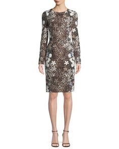 bafc891265 Black Halo Erika Animal-Print Long-Sleeve Dress