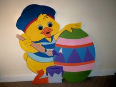 Easter Bunny and Easter Egg wood Holiday yard decoration art ,3' ea. $60.00