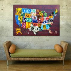 "License Plate Map Of The United States Usa 36"" X 24"" Print"