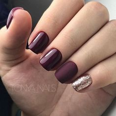 Burgundy Gloss, matte, and gold glitter nails