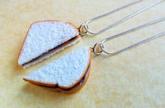 grape peanut butter and jelly sandwich best friend necklaces polymer clay bff pbandj