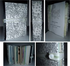 Wedding cards keepsake album! I made this using all of the cards we got for our wedding. I used basic book binding to attach the cards together & create the spine, and then covered cardstock in fabric & ribbon for the covers. The title page was an extra wedding invitation left over that I printed out and embellished. This is a great way to save your cards, and you are sure to enjoy for years to come! Good for scrapbookers, or if you want to create a really special wedding keepsake!