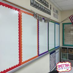 "Divide your whiteboard with colorful borders to create multiple ""bulletin boards"""