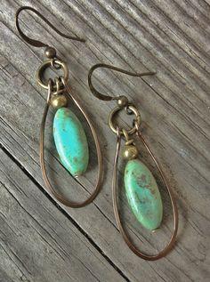 Handmade Earrings / Blue Green Turquoise Magnesite Earrings / Antique Bronze Hoops / Hoop Earrings / E025