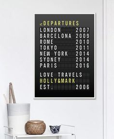 This personalized destination print in the style of an airport departures board is the perfect gift for the travel-loving couple in your life or it could give you a chance to record your travels and inspire new adventures. PLEASE NOTE: You are purchasing a digital file only. NO
