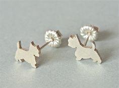 Westie Silver Post Earrings.