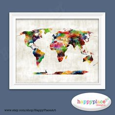 Aqua grey world map wall art print with personalised text or quote colorful watercolour world map wall art great for office art or home wall art and gumiabroncs Images