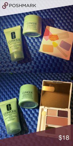 Clinique Travel Set Brand new!!! Clinique liquid facial soap mild 30ml; Clinique superdefense SPF 20: 15ml; Clinique shadow & blusher. Clinique Makeup Blush