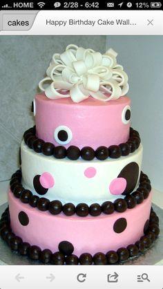 Pink Black and White 3 Tier Birthday Cake