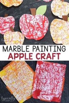 Marble Painting Apple Craft A cute apple craft that is perfect for back to schoo., Marble Painting Apple Craft A cute apple craft that is perfect for back to school or fall! This marble painting art project is easy to set up and requ. Crafts For Teens To Make, Crafts For Kids To Make, Diy And Crafts, Easy Crafts, Back To School Crafts For Kids, Fall Arts And Crafts, Back To School Activities, Kids Diy, Easy Diy