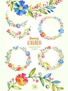 Sunny Garden. Wreaths watercolor clipart flowers greetings