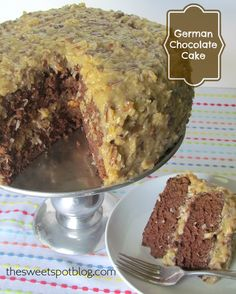 German Chocolate Cake  http://thesweetspotblog.com/german-chocolate-cake/  #chocolate #cake