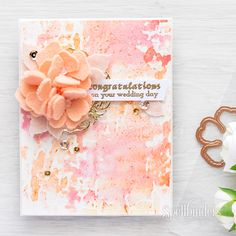 Do you know that you can use your thin, etched dies, to die cut not just paper or cardstock? Yana used beautiful peach felt to die cut flowers and leaves for a wedding card. Check out her video tutorial: