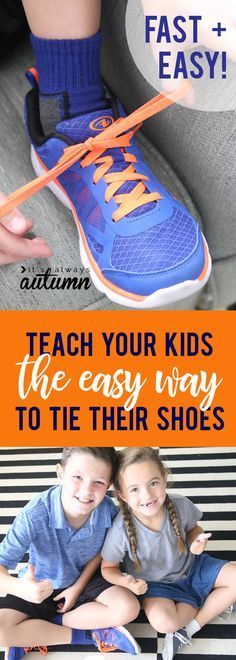 This is the best shoe tying hack ever! Teach your kids the fast and easy way to tie their shoes. It takes about 2 seconds!