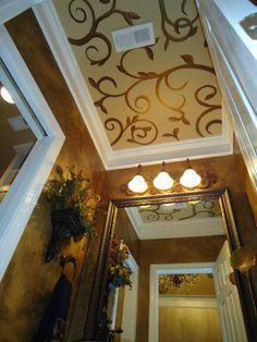 www.kevynteriors.com Interior Rendering, Interior Design, Tuscan Style, Custom Canvas, Traditional Bathroom, Canvas Artwork, Flooring, Mirror, Painted Ceilings