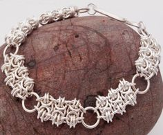 Silver Enigma chainmaille bracelet by MeadMoon on Etsy, £135.00
