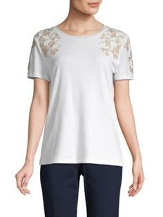 Calvin Klein Collection Floral Embroidered Short-sleeve Top In Soft White Calvin Klein Collection, Embroidered Shorts, Polyester Spandex, Short Sleeves, Tunic Tops, Floral, How To Wear, Shopping, Women