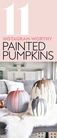Skip the pumpkin carving for less stress and less mess. #PaintedPumpkins #HalloweenDecoration #PumpkinHalloweenDecorations