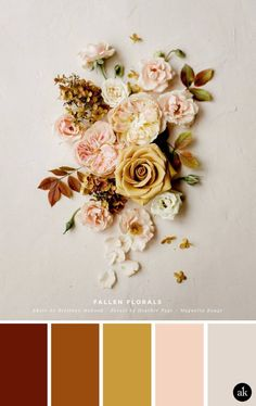 a floral-flat-lay-inspired color palette // burnt sienna, gold, peach, taupe // Magnolia Rouge palette gold a floral-flat-lay-inspired color palette — Akula Kreative Peach Color Palettes, Red Colour Palette, Colour Schemes, Gold Color Scheme, Peach Pallette, Paint Color Palettes, Gold Palette, Gold Colour, Color Durazno
