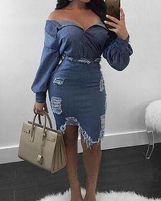Shop Two-Piece Dresses Sexy Slinky Distressed Denim Top &Skirt Set Denim Top, Blue Denim, Low Cut Bodysuit, Denim Decor, Estilo Jeans, Denim Fashion, Womens Fashion, Fashion Top, Fashion Ideas