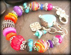 RESERVED Chunky Colorful Mixed Stone Beaded Bracelet, Turquoise, Red Coral, Rainbow Calsilica, Boho Southwest Bracelet, Southwest Jewelry