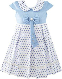 4a9794e6 Amazon.com: Sunny Fashion JT31 Girls Dress Polka Dot School Bow Tie Pearl  Cap