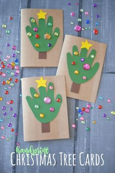 12 Christmas Tree Crafts for Kiddos: DIY Handprint Christmas Tree Cards Simple Christmas Cards, Christmas Crafts For Kids To Make, Christmas Card Crafts, Homemade Christmas Cards, Preschool Christmas, Christmas Activities, Christmas Art, Kids Crafts, Holiday Crafts