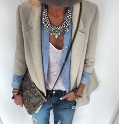 Work outfit, thick silver statement necklace and button shirt mode outfits, Mode Outfits, Fall Outfits, Fashion Outfits, Womens Fashion, Fashion Ideas, Woman Outfits, Skirt Outfits, Fashion Clothes, Simple Outfits
