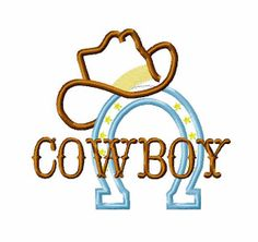Instant Download - Cowboy Designs Western Designs Cowboy Embroidery Applique - Cowboy across Horseshoe with Hat 4x4, 5x7, 6x10 hoop sizes