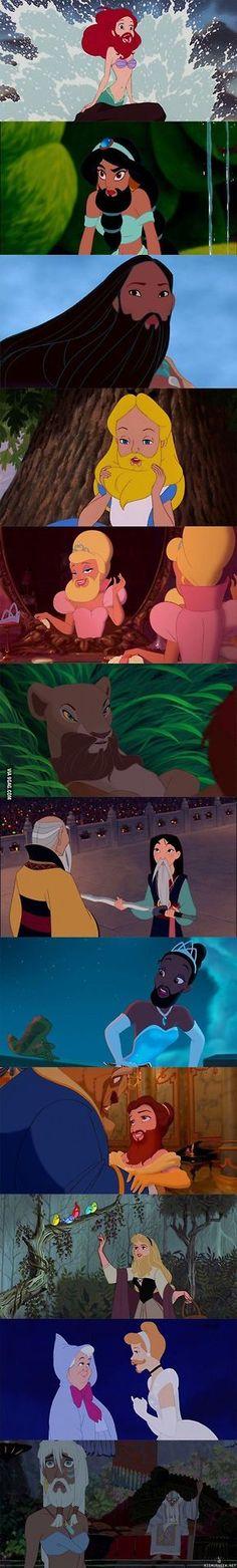 Disney princesses with beards. I....I....