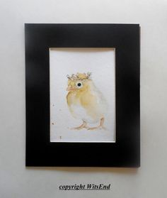 Chick watercolor painting original nursery art baby by 4WitsEnd, via Etsy