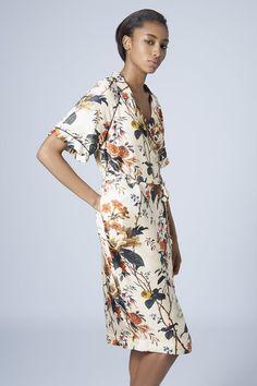 Autumn Floral Print Wrap Dress by Boutique