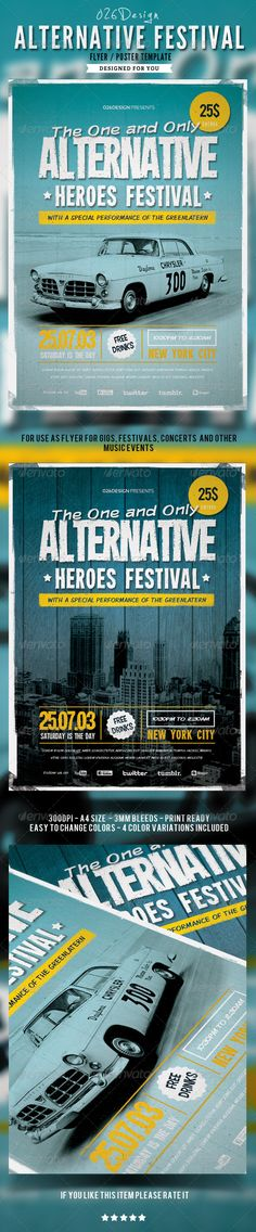 Alternative Festival Poster / Flyer  #fresh • Click here to download ! http://graphicriver.net/item/alternative-festival-poster-flyer/4892683?s_rank=417&ref=pxcr