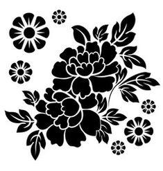 Illustration of Black silhouette of flowers. vector art, clipart and stock vectors. Stencil Patterns, Stencil Art, Stencil Designs, Flower Stencils, Stencil Stickers, Stenciling, Dyi Flowers, Simple Flowers, Fleur Design