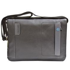 Piquardo Black Italian Leather Flap over Messenger Laptop Bag with iPad®/iPad®Air and iPad®mini compartment