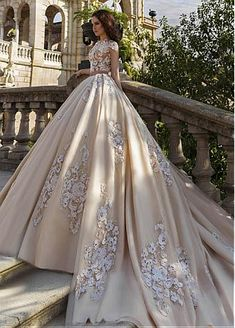 Buy discount Glamorous Tulle Jewel Neckline Ball Gown Wedding Dresses With Lace Appliques at Dressilyme.com