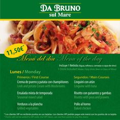 Menú del día / Menú of the day  11,50€ dos platos y bebida