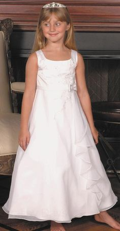 9e683819a339 Plus Size First Communion Dress in Satin with Chiffon Skirt Flower Girl  Dresses