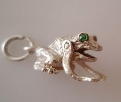 Silver Frog with Green Gem Set Eyes Moving Charm by TrueVintageCharms on Etsy