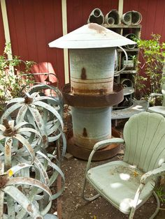 Turn salvaged metal goods, such as piping or duct work into birdhouses.
