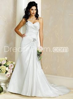Sweeping Length Train Strapless Wedding Dresses Sweetheart
