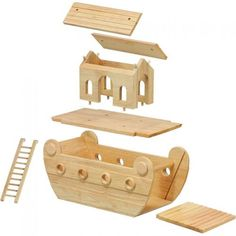 Lanka Kade's award-winning natural wood ark is beautifully handcrafted from sustainable rubber wood. This fair trade ark comes complete with Mr & Mrs Noah and 11 pairs of wooden animals. Considered a genuine family heirloom, this timeless ark is the perfect toy for children to re-enact the famous biblical story. A popular children's Christening gift.