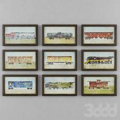 VINTAGE TRAIN CAR ART ❤ liked on Polyvore featuring home, home decor, wall art, vintage car wall art, car interior decor, car wall art, vintage home decor and vintage wall art