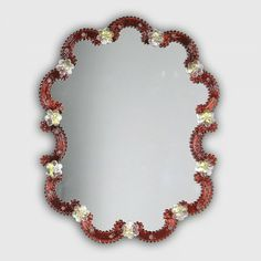 Murano Glass Mirror. Artistic #Murano's #mirror worked exclusively by hand with the ancient art of #Murano #glass masters from #Venice. Visit our web site www.sognidicristallo.it to see or buy online our creations! Price 350 euro.