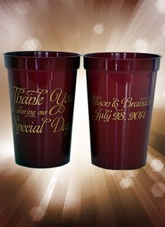 #neworleansstadiumcups ~ How do you make a printed plastic cup look elegant? Print gold ink on a burgundy cup with elegant calligraphy, that's how! These 22 ounce sturdy cups are dishwasher safe and can be used for years. Order plenty because you will want them for many future anniversaries. These budget-friendly cups range in price from $.79 to $1.09, printed on both sides. Visit www.favorsyoukeep.com or call 512.323.0600. Rush service available.