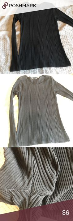 Black Ribbed Long T No rips stains or holes but under arm on one side has some pulling / stretch of stitches (shown) not noticeable nor lacking function. Something between a Sweater and Shirt/ Heavy T. Great on short or regular length torso. Charcoal grey to black. Estimate small but is Stretchy. Tops Tees - Long Sleeve