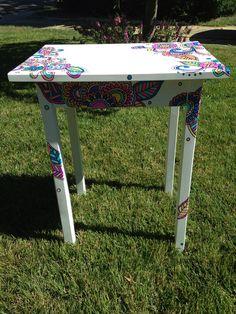 Handpainted wooden table by NotSoPlainJaynes on Etsy, $65.00